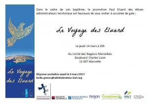 Invitation soirée de gala baptême promotion Paul Eluard jeudi 14 mars 20h